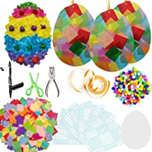 Exquiss 1600 Set of Easter Suncatcher Crafts Suncatcher Egg Crafts with 14 Colors of Tissue Paper Squares and Craft Kits f...