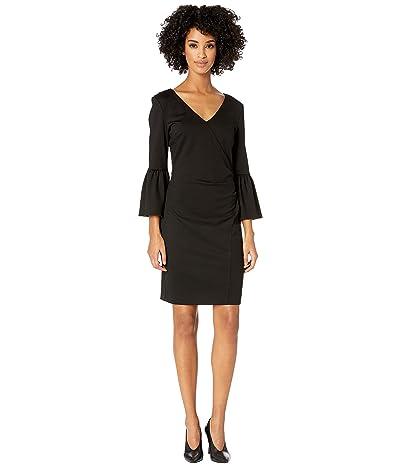 Nicole Miller Ponte Bell Sleeve Dress (Black) Women