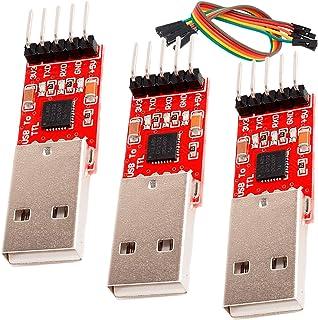 AZDelivery 3 x CP2102 USB a TTL Convertidor HW-598 para 3,3V y 5V con cable puente Jumper compatible con Arduino con eBook...