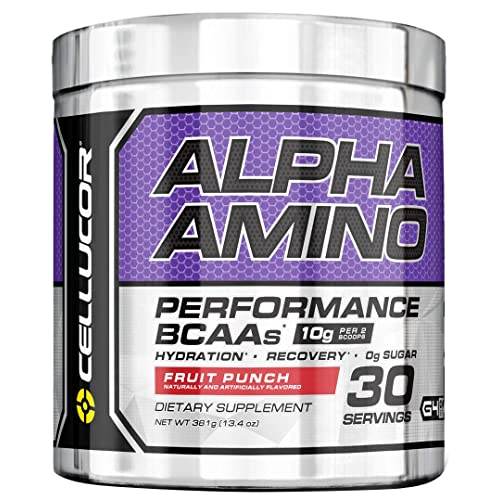 Cellucor Alpha Amino EAA & BCAA Powder | Branched Chain Essential Amino Acids + Electrolytes | Fruit Punch | 30 Servings