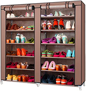 TXT&BAZ 36-Pairs Portable Shoe Rack Double Row with Nonwoven Fabric Cover (7-Tiers Brown)