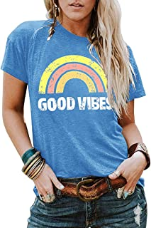 YEXIPO Womens Graphic Tees Good Vibes Shirt Short Sleeve Funny T Shirts Rainbow Print Cute Summer Tops
