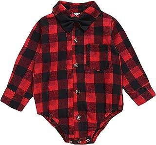 Newborn Baby Boy Girls Flannel Plaid Shirt Long Sleeve Romper Bodysuit Christmas Winter Clothes 0-24 Months