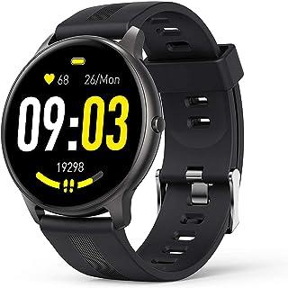 JessFash Sport Smart Watch Touch Activity Fitness Tracker Podómetro Impermeable Blutooth Round Sports Smart Watch Frecuencia cardíaca Monitor de sueño Notificación de Mensajes Reloj de Bricolaje