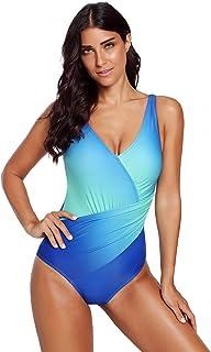 5d092c8592 Eozy Monokini Femme Col V Maillot De Bain 1 Pièce Gainant Ventre Plat  Bikini Élastique Push