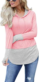 Women's Long Sleeve Pullover Hoodies Tops Casual Color Block Drawstring Sweatshirts with Thumbholes