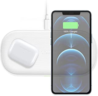 CHOETECH Dual Wireless Charger, 5 Coils Qi Fast Wireless Charging Pad Compatible with iPhone 12/12 Pro/12 Pro Max/12 Mini/...