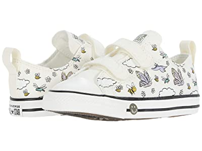 Converse Kids Chuck Taylor(r) All Star(r) 2V Camp Ox (Infant/Toddler) (Vintage White/Moonstone Violet/Black) Girl