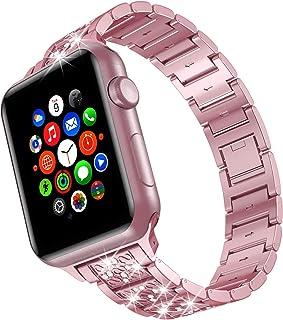 TOWOND Apple Watch seria 6 pasek 44 mm dla kobiet metalowe paski ze stali nierdzewnej, kryształ górski zapięcie na biżuter...