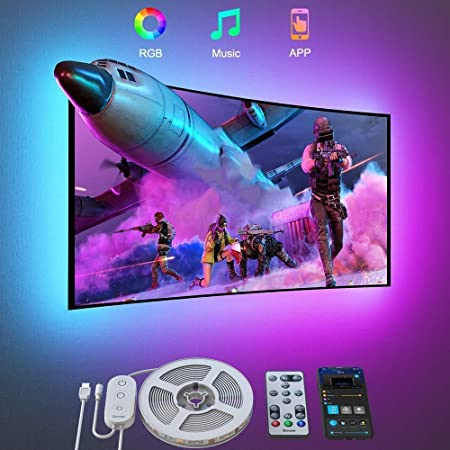 Govee TV LED Backlights with APP Control, 3M Bluetooth Color Changing TV Led Strip for 46-60 inch TVs, Music and Scene Modes, RGB TV LED Backlights with USB Port for TV Computer Living Room Bedroom