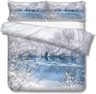 Queen Size Duvet Cover Set Winter,Frozen Lake and Snowy Trees for Kids/Teens/Adults Hidden Zipper Quilt Cover Printed