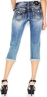 Women's Double Trouble Contrast-Stitch Cropped Capri Jeans