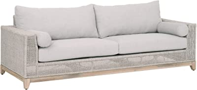 Benjara Rope Weave Design Wooden Sofa with 2 Round Bolsters Pillows, Gray