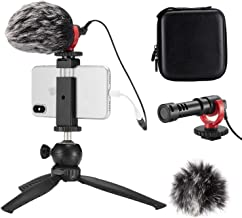 FULAIM Smartphone Video Microphone w/Anti-Shock Mount Phone Holder Tripod Compatible with iPhone Samsung etc. Mobiles and DSLR Camera for YouTube Vlogging Facebook Livestream Audio/Video Recording