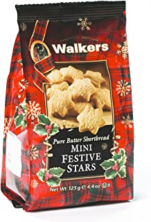 Walkers Pure Butter Mini Shortbread Stars Cookies, 125 Gram (Pack of 6)