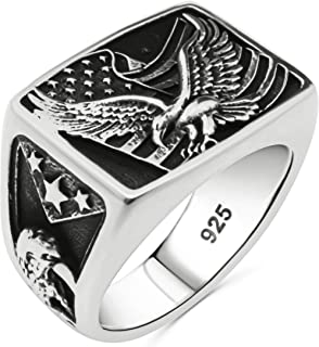 Solid 925 Sterling Silver Statement Patriotic American Flag USA Symbol Novelty Eagle Ring for Men