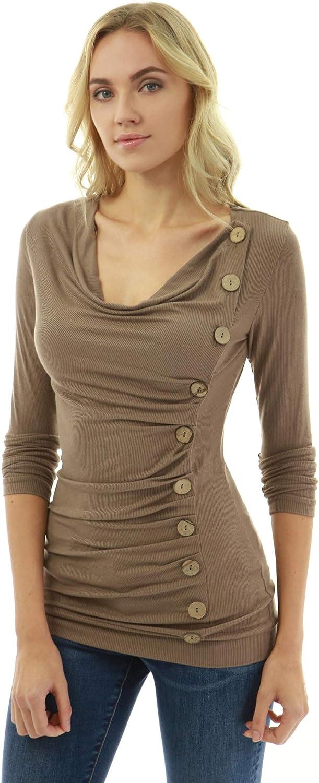 PattyBoutik Women Cowl Neck Button Embellished Blouse