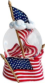 American Flag 100MM Resin Musical Water Globe Plays Tune America the Beautiful Cadona International Inc