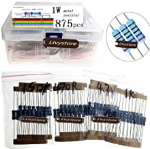 Ltvystore 875PCS 35 Values 1 ohm~ 2.2M ohm 1W Metal Film Resistors Assortment Kit Assorted Set