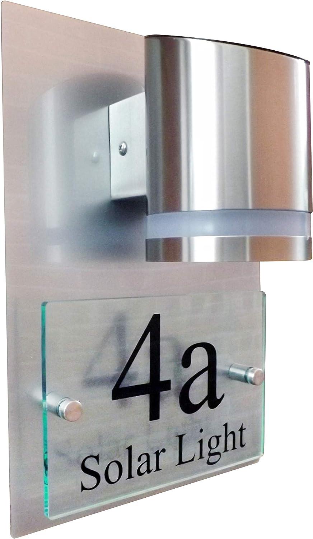 Free Shipping New LED Solar Powered House Sign Glass New color Modern Aluminium Acrylic Effe