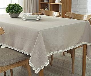 Ommda Nappe de Table Lin Lavé Nappe Rectangulaire avec Bord de Dentelle Nappe de Table a Manger 140x220cm Beige