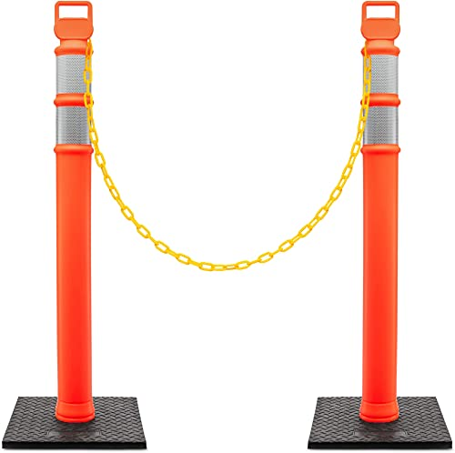 """new arrival Jumbl Delineator Kit   2 Pack of 48"""" Orange Post w/3"""" Reflective Collars & 10LB Weighted Base high quality   Includes 1x 50Ft Chain Rope, 2-Carabiners & 656-Ft Caution Tape discount   UV & Impact Resistant   Traffic & More sale"""