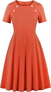 Wellwits Women's Button Decor Solid Blank 1950s Vintage Swing Dress