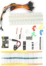 Romacci Kit de componentes eletrônicos Variedade de componentes eletrônicos 830 pontos de amarração MB102 Fios de jumper d...