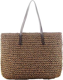 Flower205-Sac de plage Plage extérieure ronde rotin tissé à la main sac mode casual grande capacité sac de paille sac de r...