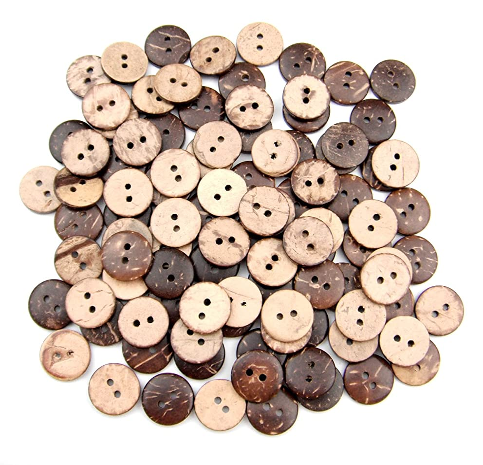 ALL in ONE Brown 2 Holes Coconut Shell Sewing Buttons Clothing Accessories (15MM 100PCS)
