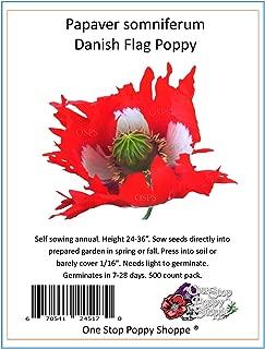 500 Poppy Flower Seeds. Papaver Somniferum. Danish Flag Poppies. One Stop Poppy Shoppe Brand.