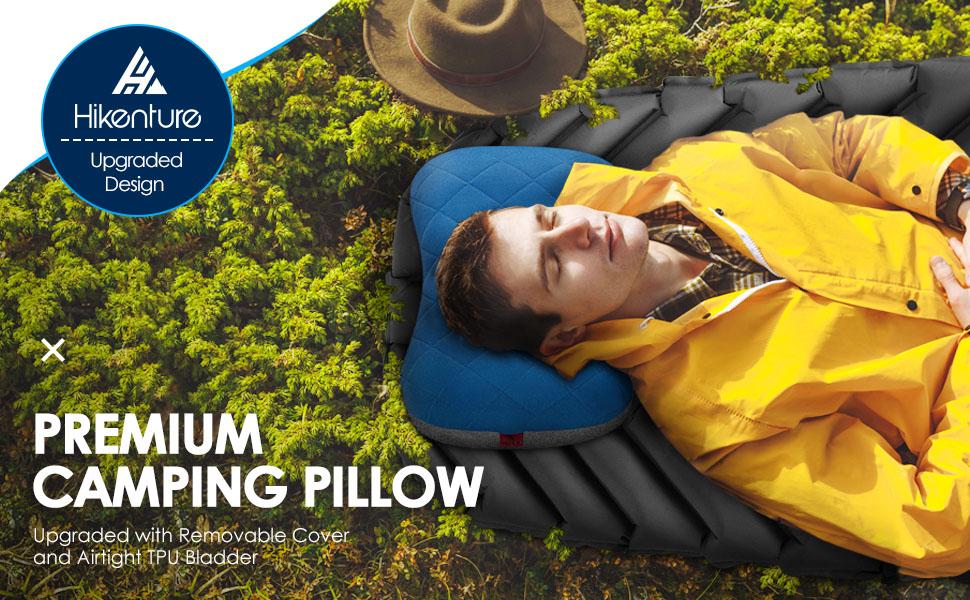 71jA1r5gszL Hikenture Aufblasbares Camping/Reise Kissen mit Abziehbarem Kissenbezug, Ergonomisches Kopfkissen, Komfortables…