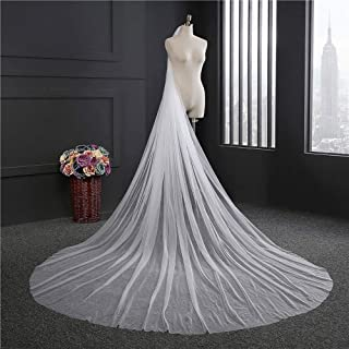 Wedding Veil,Bridal Veil White/Ivory Long section Round trailing Naked yarn Soft Veil Elegant Simple,1 layer 3m Long Wedding Veil with Comb