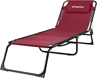 KingCamp Folding Patio Lounge Chair 3 Adjustable Reclining Positions Chaise Bed Steel Frame 600D Oxford Cot with Removable Pillow for Camping Pool Beach Supports 300lbs