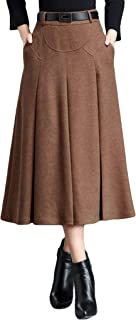Womens Elegant High-Waist A-Line Pleated Midi Woolen Skirt with Pockets
