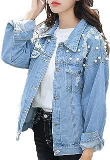 Womens Denim Jacket Pearls Beading Jeans Coat Loose Long Sleeve Ripped Jackets
