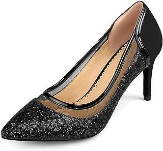 Womens Kori Faux Suede Mesh Glitter Almond Toe Heels