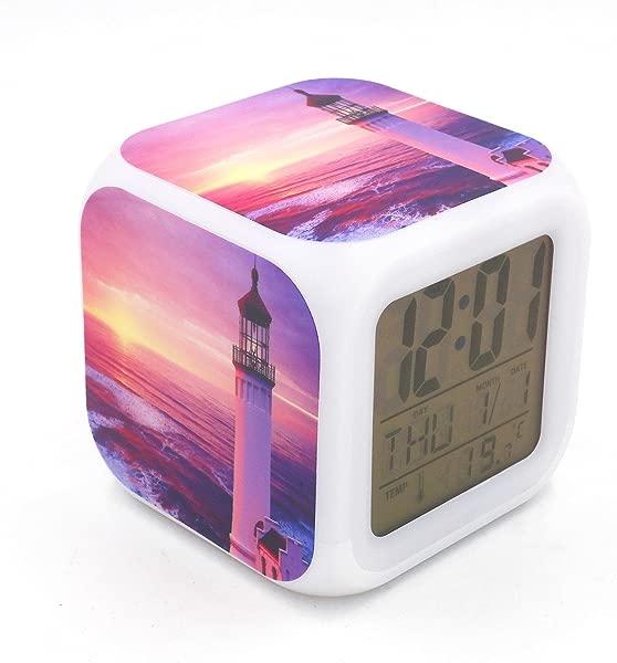 BoFy Led Alarm Clock Lighthouse Sunset Glow Personality Creative Noiseless Multi Functional Electronic Desk Table Digital Alarm Clock For Unisex Adults Kids Toy Gift