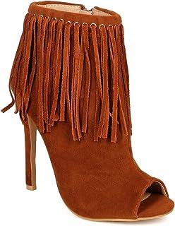 Liliana Women Suede Fringe Peep Toe Stiletto Ankle Bootie CF73
