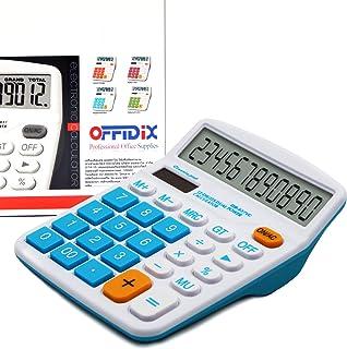 OFFIDIX Desktop Calculator 12 Digit Large LCD Display Calculator Office Desk Calculator, Dual Power Electronic Calculator ...
