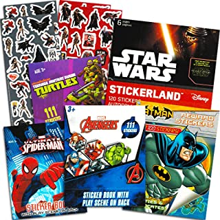 Superhero Stickers for Kids Boys Girls Set ~ Over 800 Licensed Super Hero Stickers on 54 Sheets Featuring Marvel Avengers, Spiderman, Justice League, Batman, Superhero and More (Party Favors Pack)