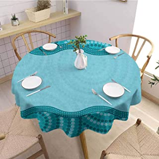 Luoiaax Seafoam Multiple Colors and Sizes Wavy Dotted Pattern with Australian Aboriginal Design Tribal Kakadu Can be Used for Parties D47 Inch Round Teal Seafoam Petrol Blue