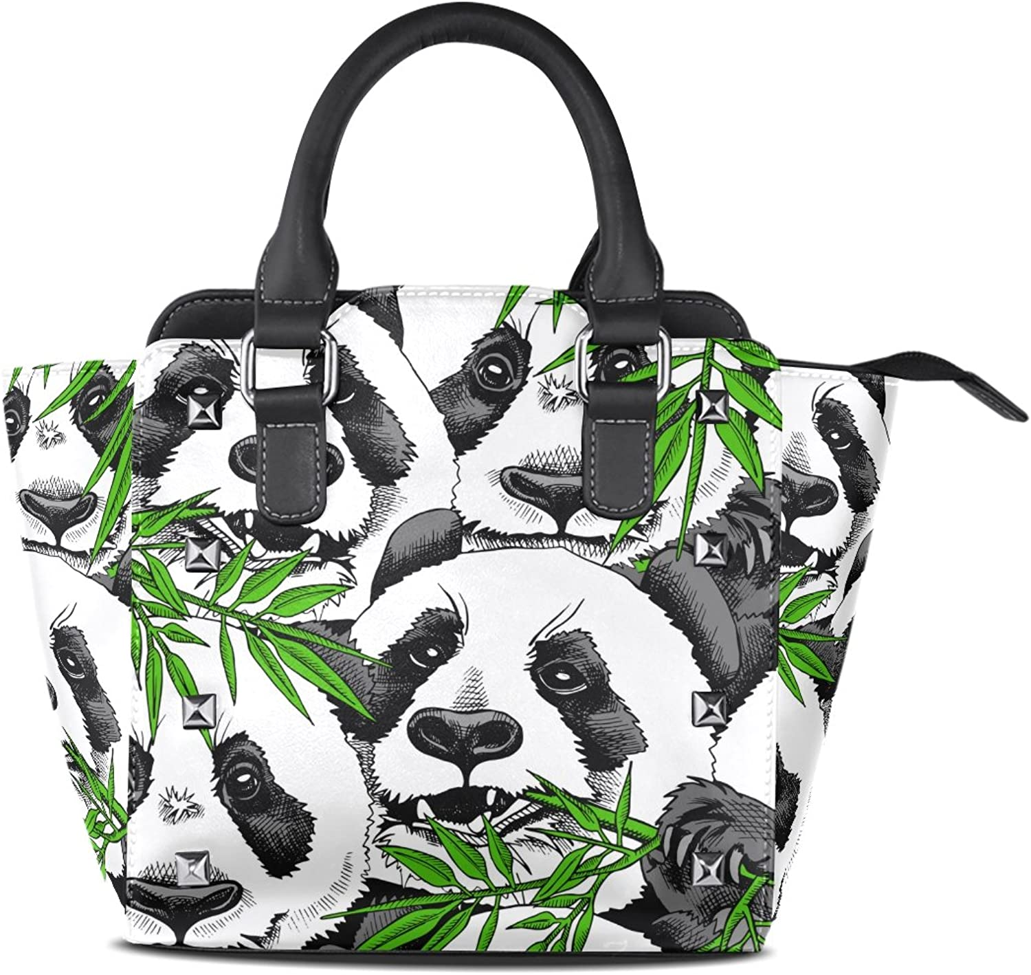 My Little Nest Women's Top Handle Satchel Handbag Panda Eating Bamboo Ladies PU Leather Shoulder Bag Crossbody Bag