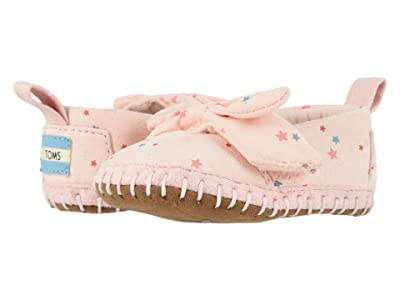 TOMS Kids Crib Alpargata (Infant/Toddler) (Ballet Pink Star Print Microsuede) Girl