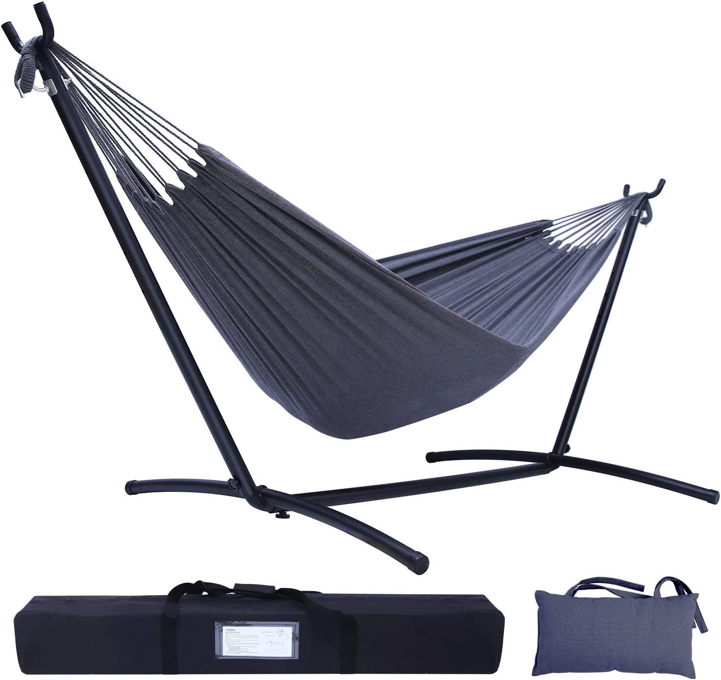 Hammock with Stand, Ohuhu Double Hammocks with Space Saving Steel Stand & Pillow, 2-Person Hammock with Portable Carrying Bag for Indoor Outdoor Garden Yard Porch Patio, 450 lb Capacity
