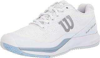 WILSON Rush PRO 3.0 Tennis Shoes Women, White/Cashmere Blue/Illusion Blue, 8