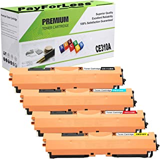 PayForLess Compatible 126A CE310A CE311A CE312A CE313A Toner Cartridge 4PK Replacement for HP Laserjet Pro M275 CP1025nw CP1025 Pro 100 M175nw