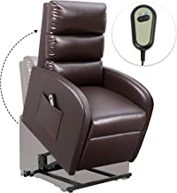 Homall Electric Power Lift Recliner Chair Sofa PU Leather Home Recliner for Elderly Classic Lounge Chair Living Room Chair with Safety Motion Reclining Mechanism (Brown)