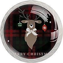 Lade handgrepen trekken ronde kristallen glazen kast knoppen keuken kast handvat, Merry Christmas rendier Xmas kerstballen...