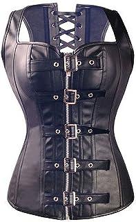 Kiwi-Rata Women's Faux Leather Steampunk Gothic Buckle Corset Bustier Top Plus Size